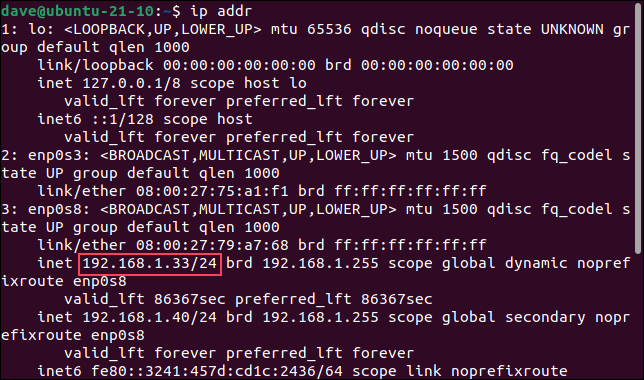 Using ip addr to find an ip address