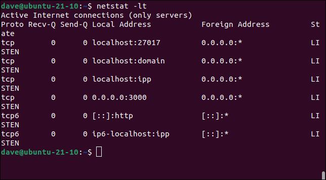 Using netstat to look at listening TCP/IP sockets