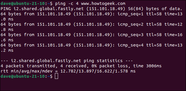 Using ping to send a specific number of packets