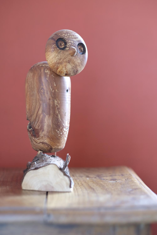 Chouette en bois tourné