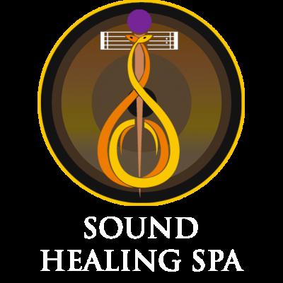 SOUND HEALING SPA gong bath logo white text