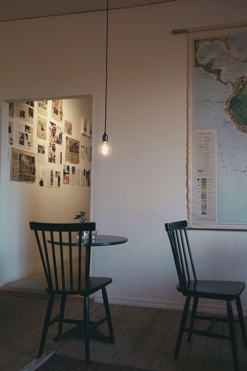 Mysig inredning i Österlenchoklads café