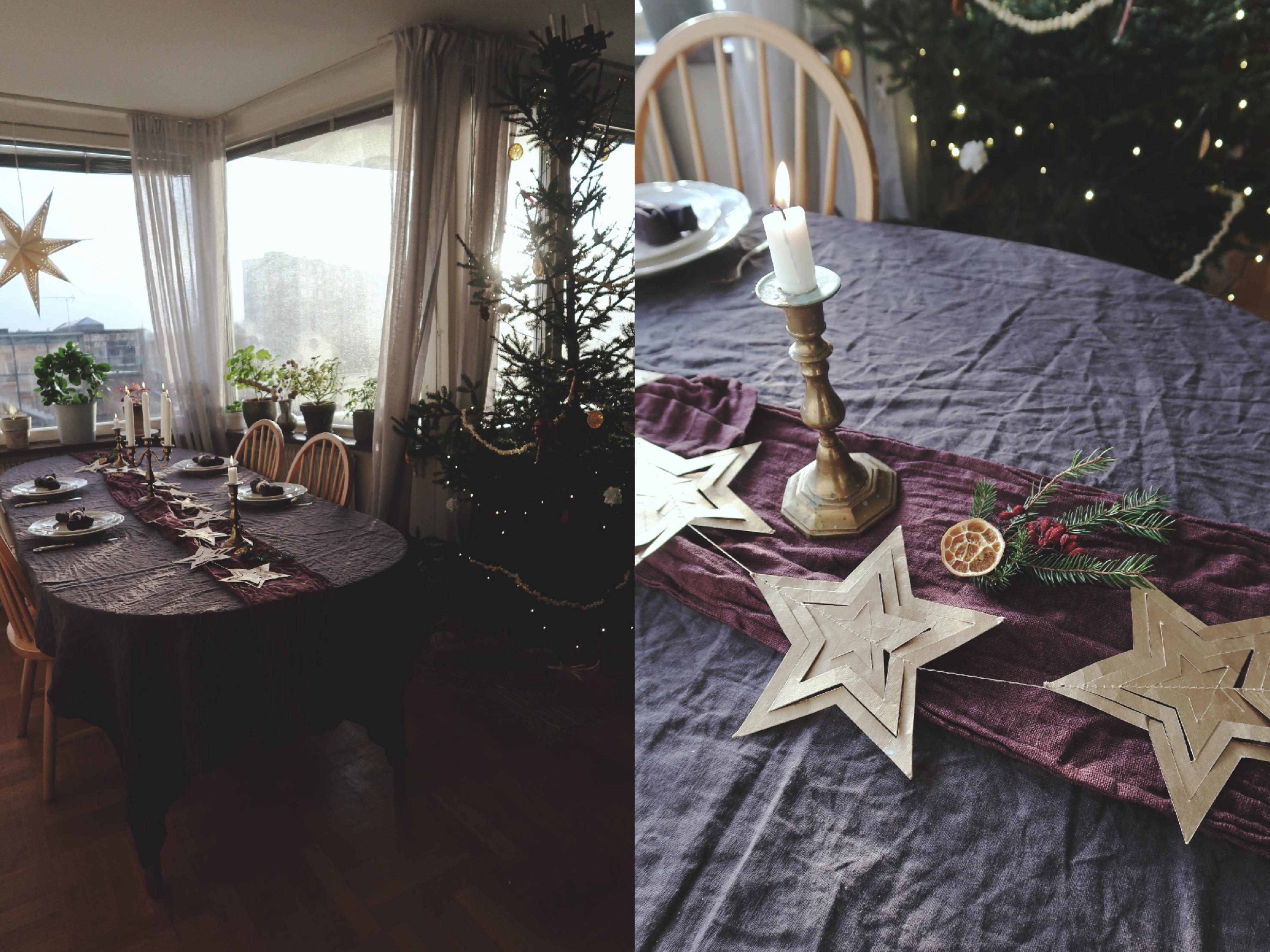 Juldukning med loppisfynd i mässing