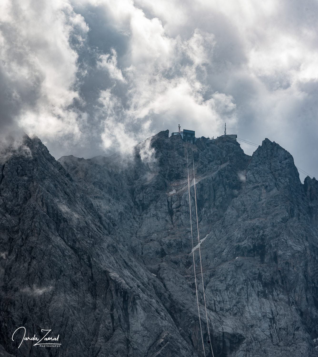 View over Zugspitze from the start of the cable car