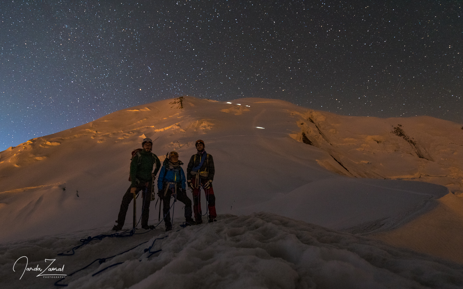 Putting crampons on next to the Gouter Hut and time to acclimatize for Mont Blanc