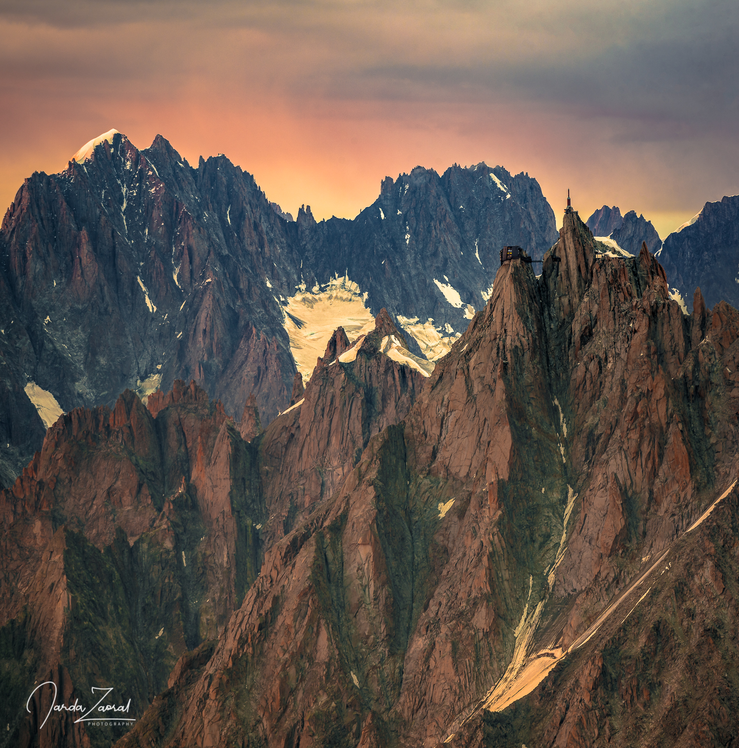 Aiguille du Midi viewed from the Gouter Hut during sunset