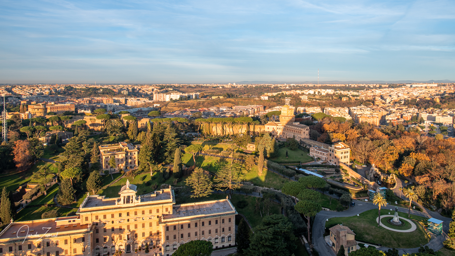 View over Vatican gardens from the Dome of st. Peter's Basilica
