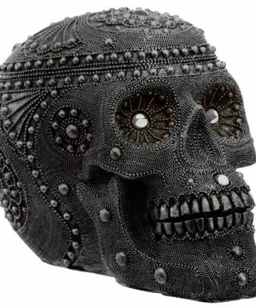 Gothic Pirate Large Silver Beaded Skull Head