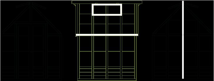 3 tegninger af et drivhus fra front, bagenden og siden