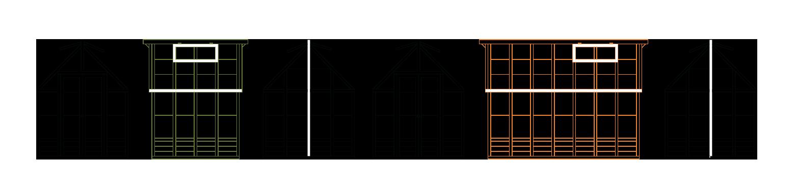 6 tegninger af to forskellige drivhuse fra front, bagende og side