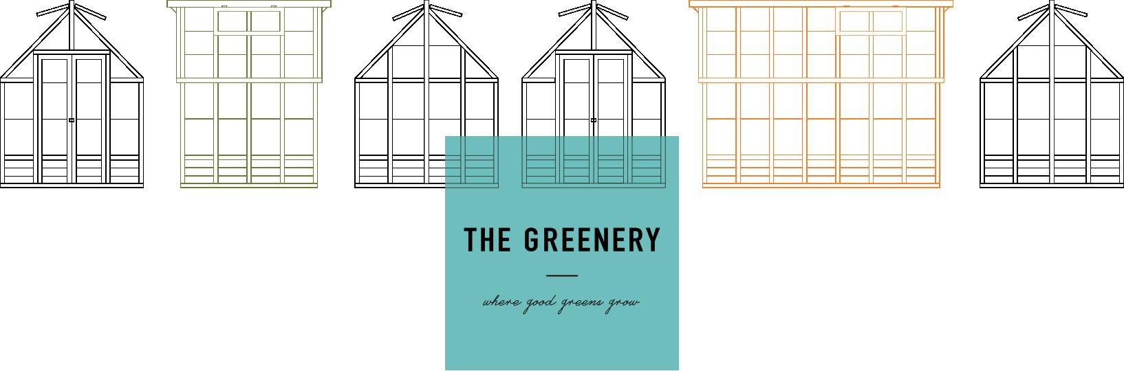 """The Greenery grønt logo med sorte tegninger af drivhus og tekst """"The Greenery - where good greens grow"""""""