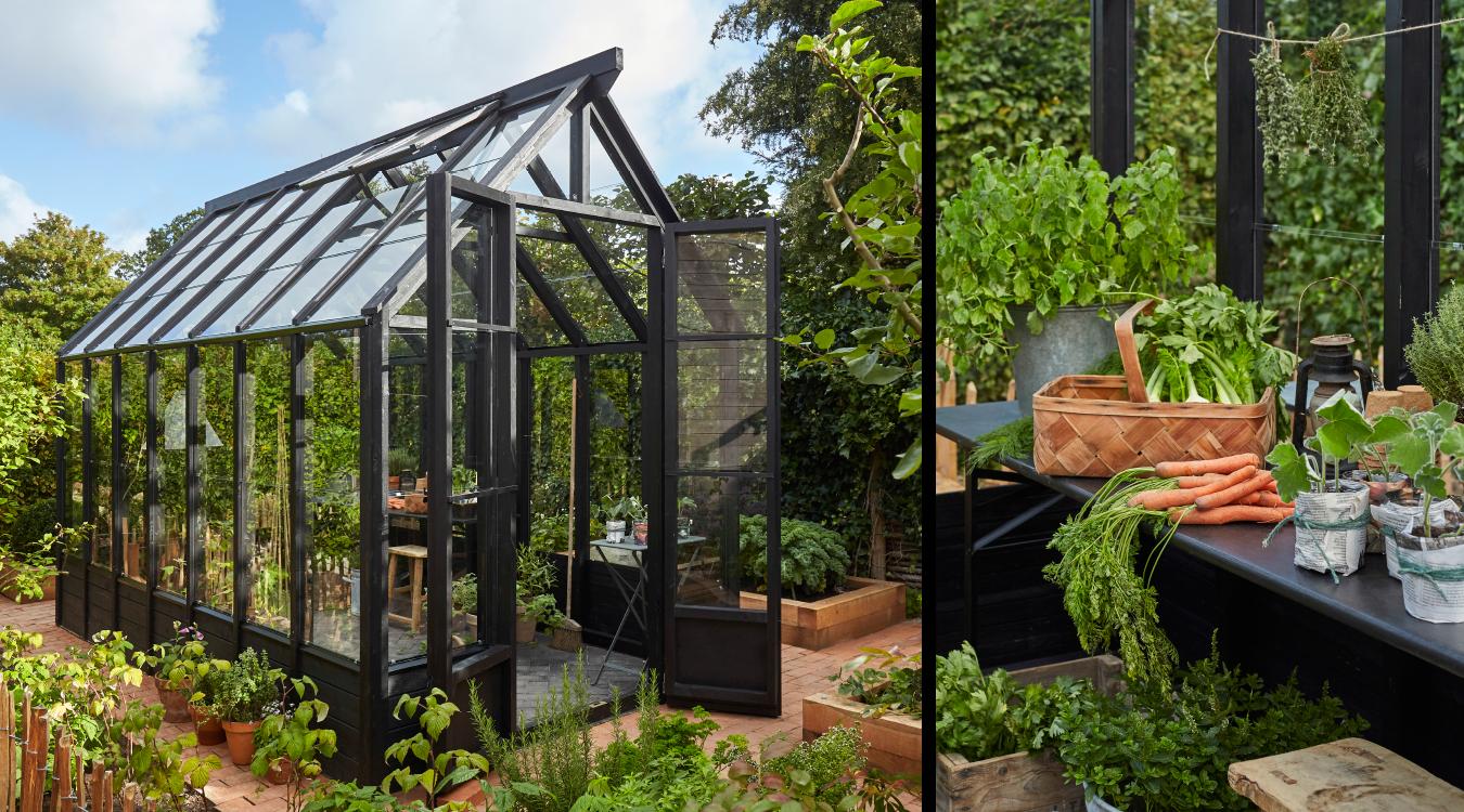 Opdelt billede med sort trædrivhus udefra og indefra med plantebord