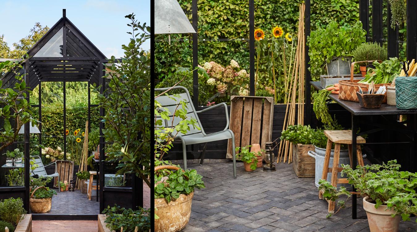 Trædrivhus udefra og indefra med stol og plantebord