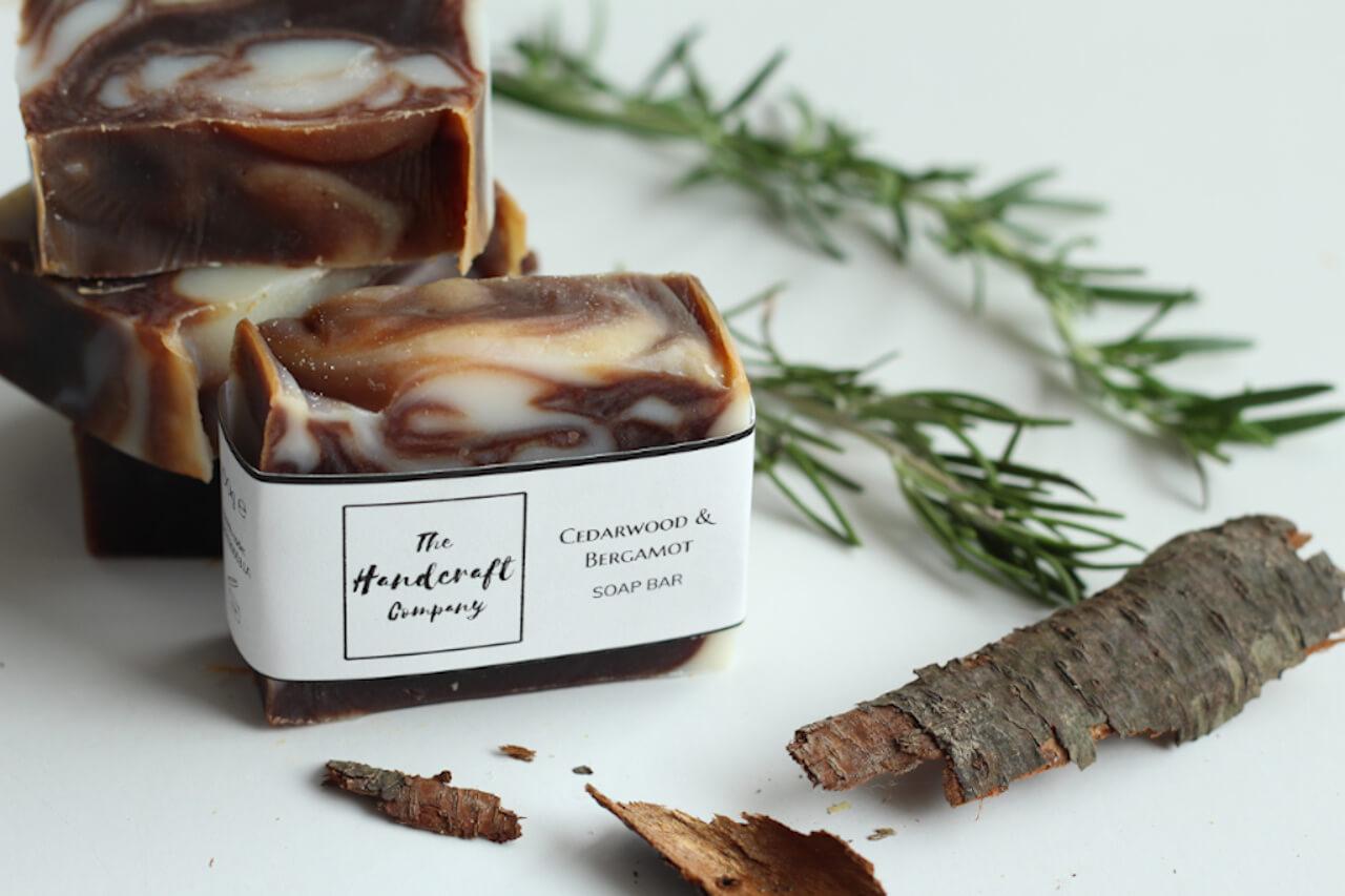 Cedarwood and Bergamot handmade soap spread out