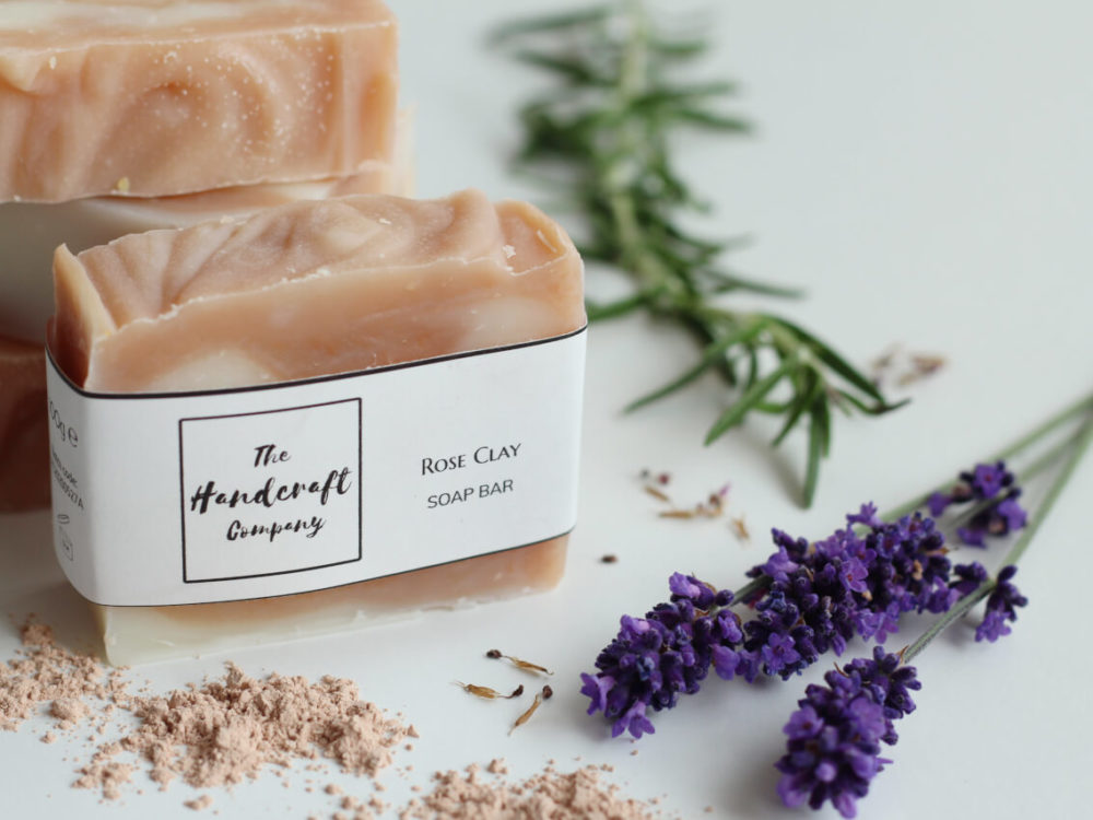 Pink Rose clay soap handmade with lavender and rosemary stem