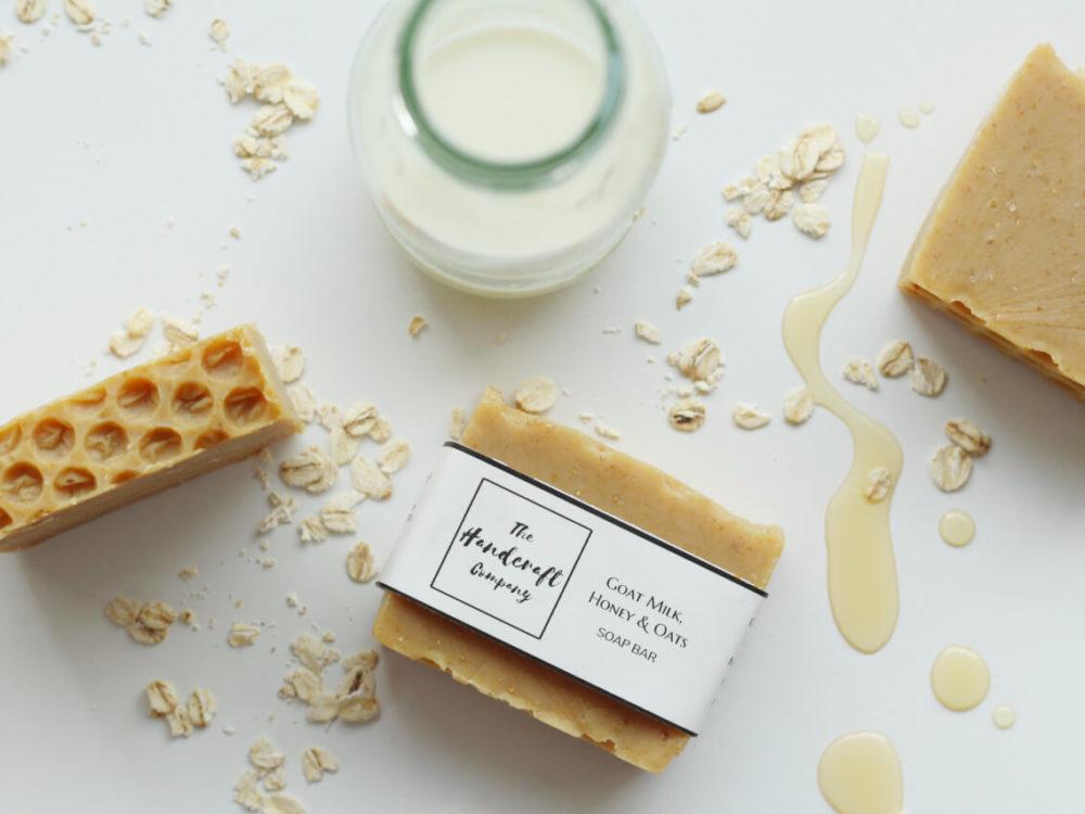 Goat milk honey oats handmade soap flat lay