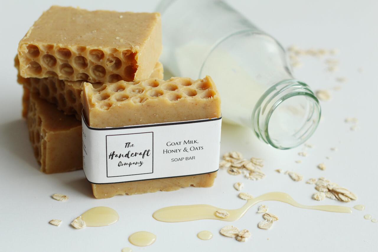 Goat milk honey oats handmade soap in blocks