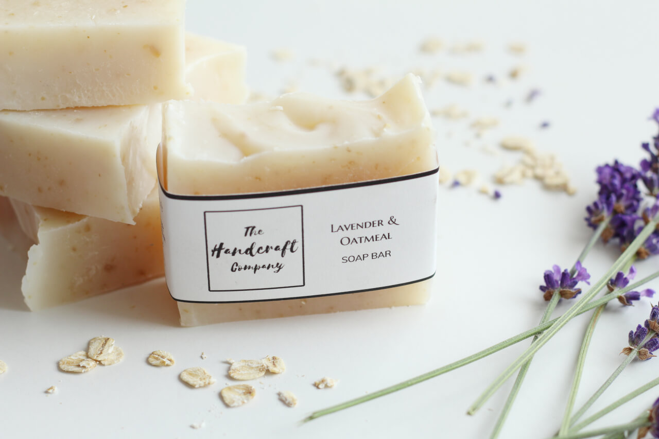 Lavender and Oatmeal Soap handmade in blocks