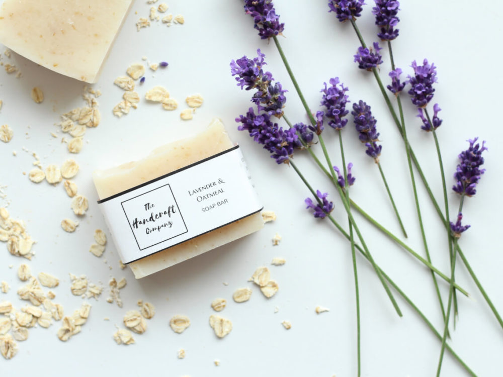 Lavender Oatmeal handmade soap flat lay