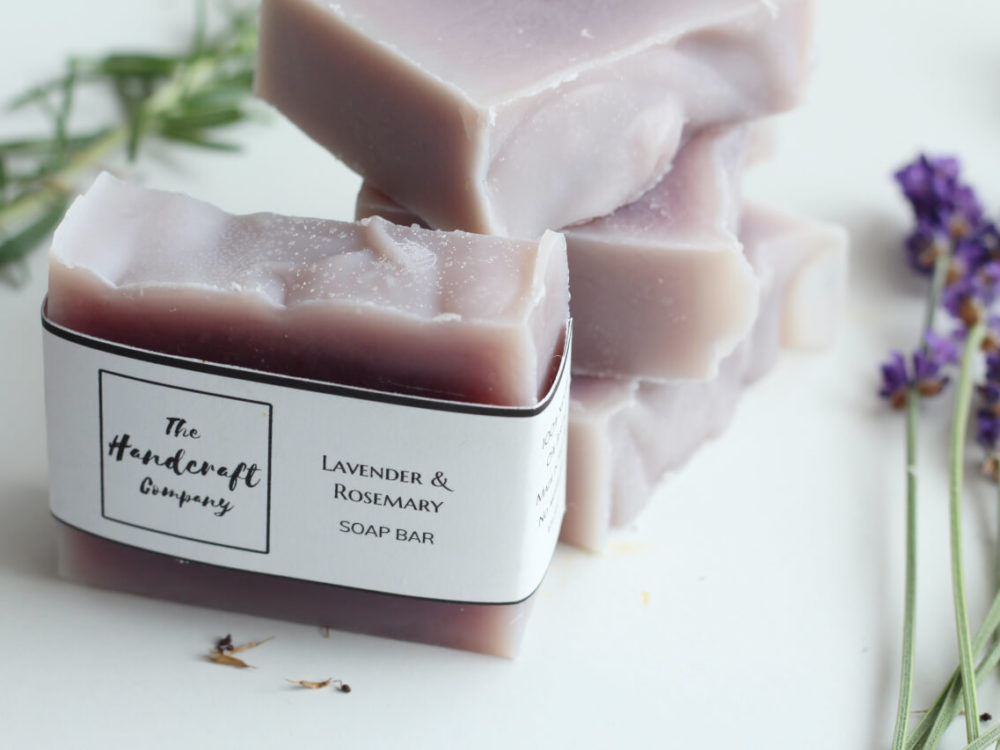 Lavender rosemary handmade soap in blocks