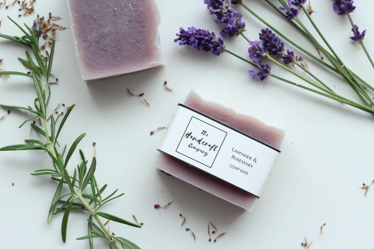 Lavender rosemary handmade soap flat lay