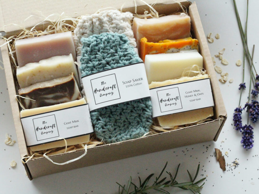 Handmade soap luxury gift set with soap bag in a box with shredded paper rustic