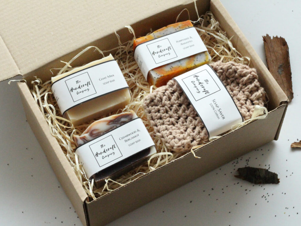 Handmade soap gift set for men with soap bag in a box with shredded paper rustic