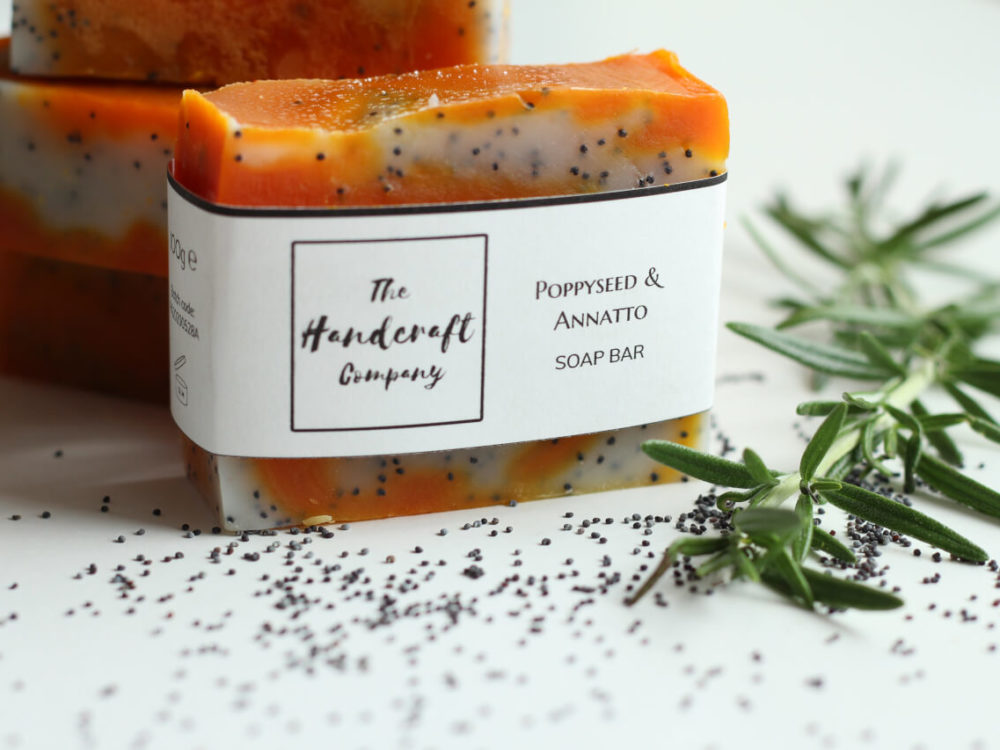 Poppyseed and Annatto soap handmade natural with rosemary leaves