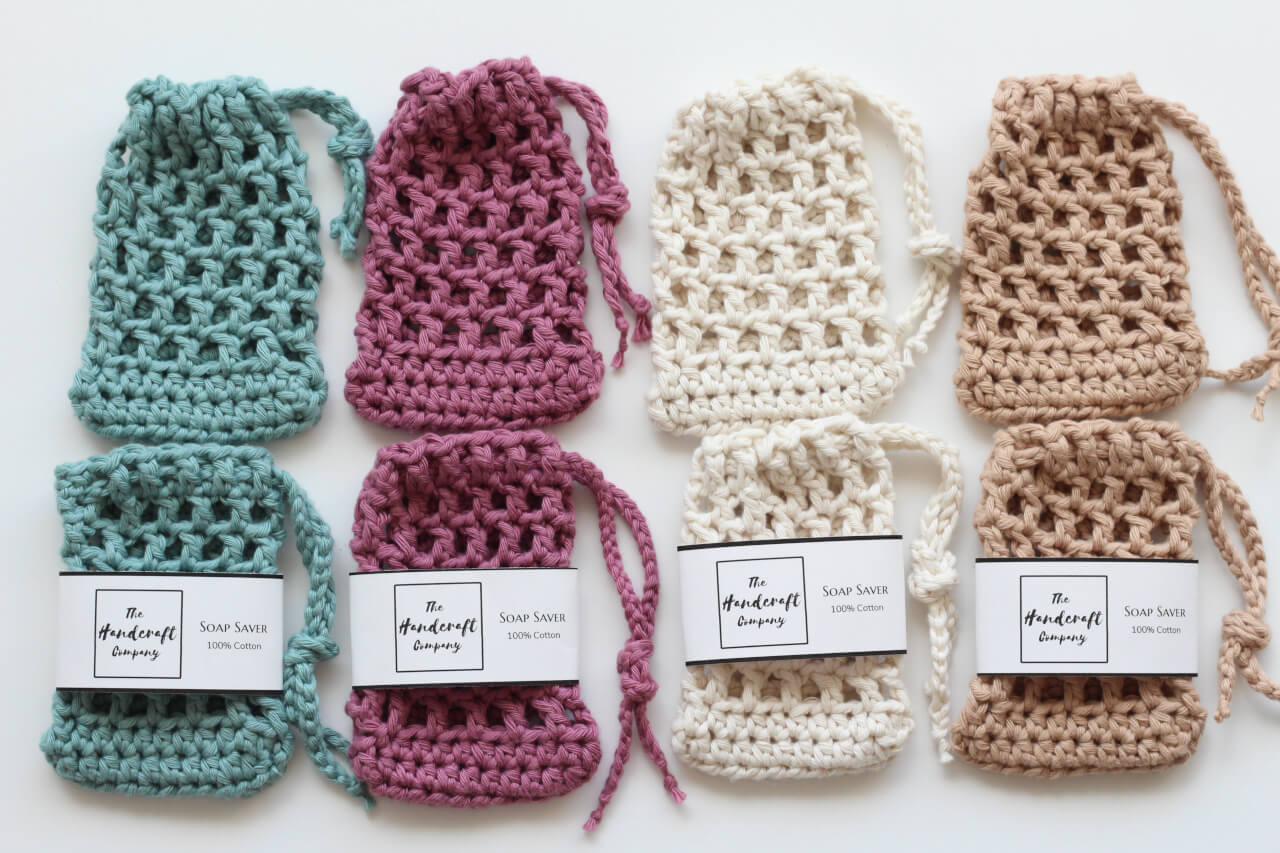 Handmade soap saver bags in line blue pink white and brown