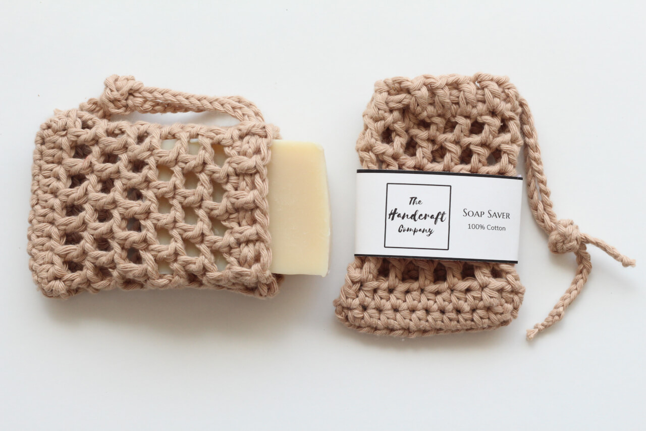 Brown soap saver handmade bag Cotton