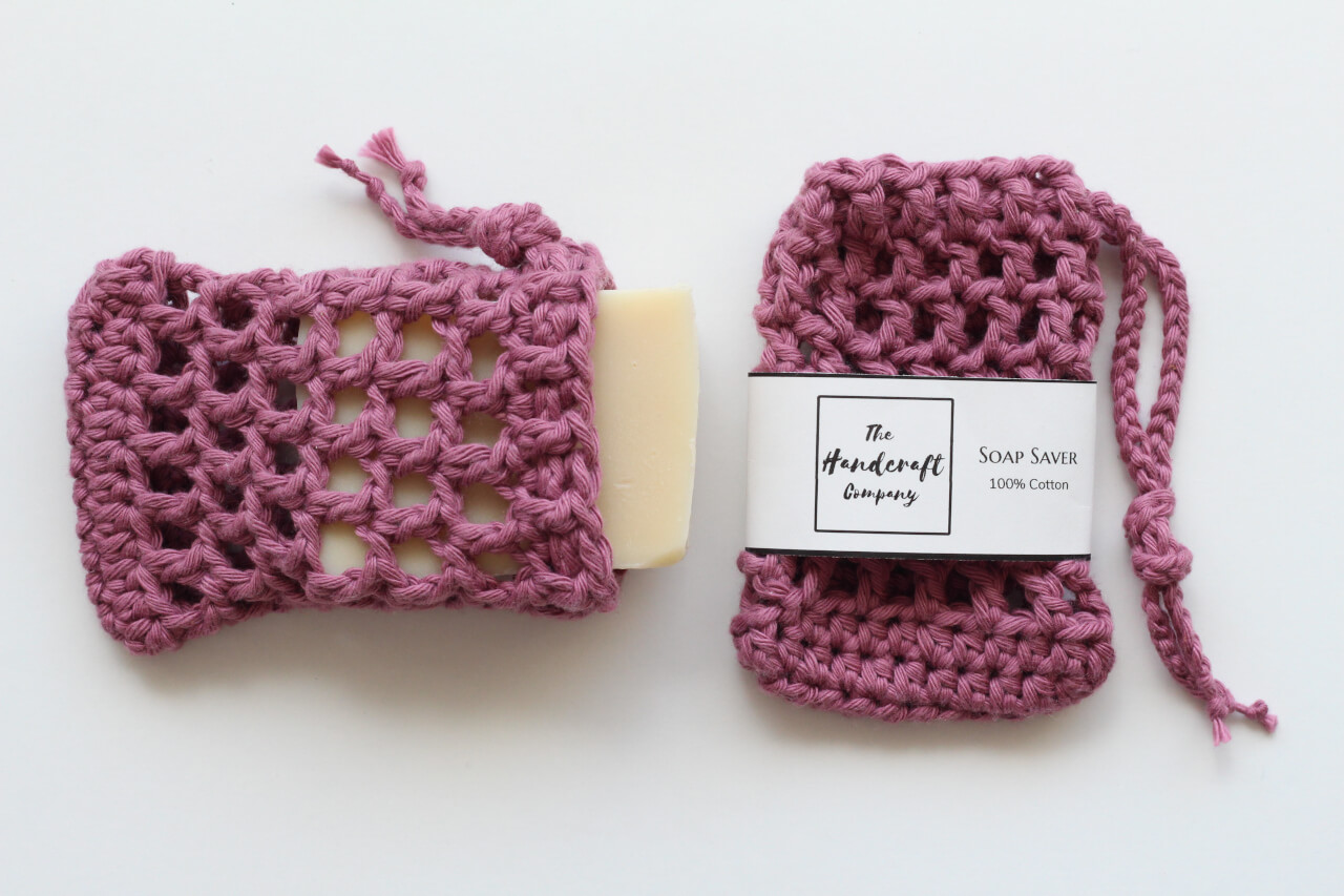 Pink soap saver handmade bag with a bar of soap