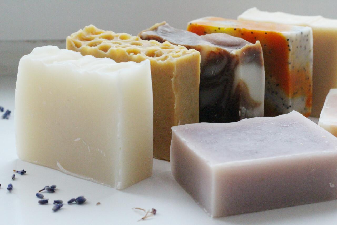 A queue of natural handmade soaps