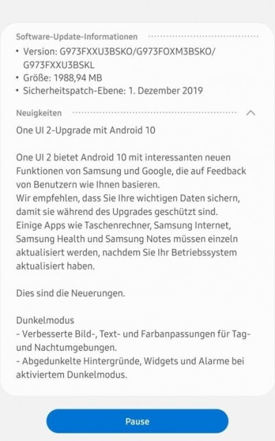 download android 10 update samsung galaxy s10
