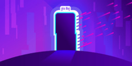 purple magic portal to immersive themed worlds in theme parks and attractions