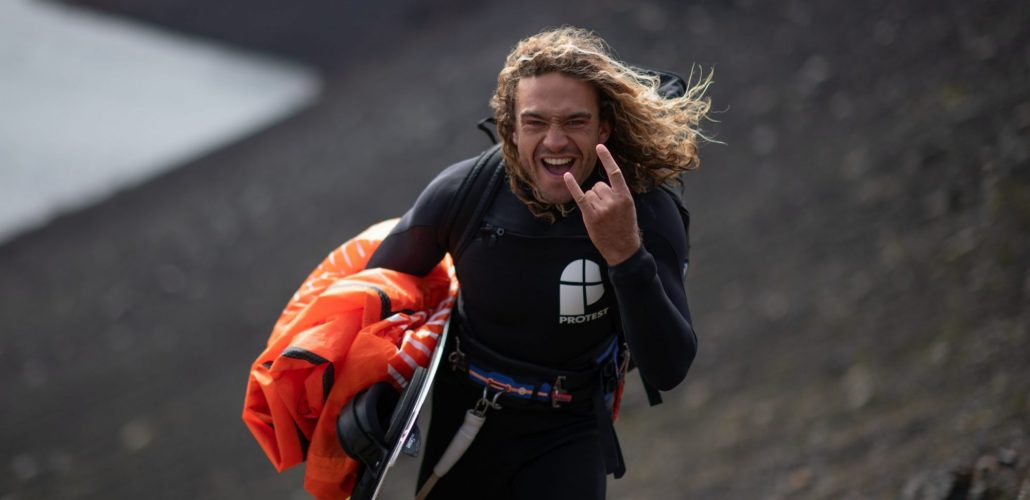 Stoked Roderick after he kitesurfed inside a volcano crater in Iceland.