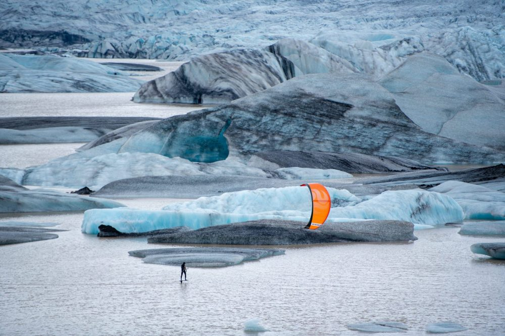 Kitesurfing between the Icebergs for our Last Line project in Iceland