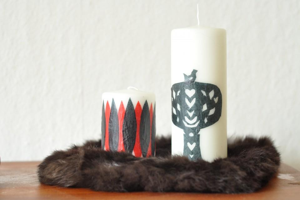 Stearinlys dekoreret med silkepapir