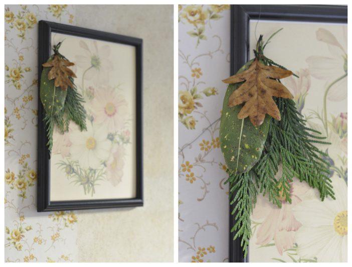 Naturlig julepynt med gran og blade på billeder