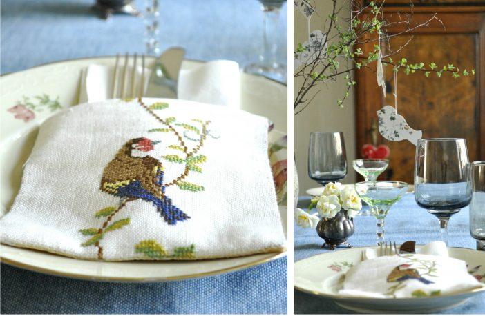 Dæk et påskebord med fugle som tema