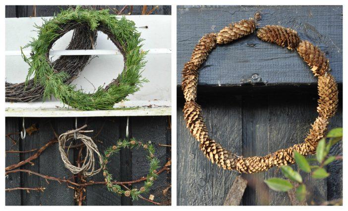 Julekranse - med kogler, valmuefrø, gran og birkesris