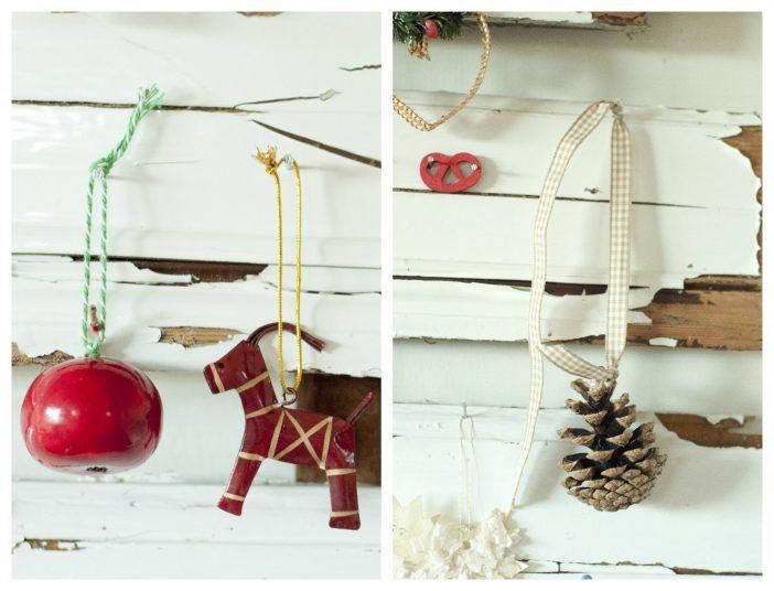 Julepynt - æble, julebuk og kogle