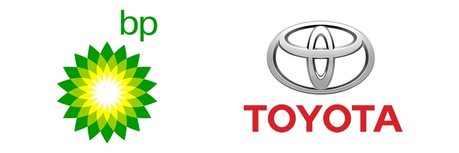 What are the different types of logos - Abstract or symbolic marks - BP Logo - Toyota Logo-min