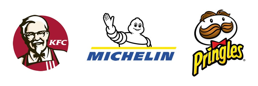 What are the different types of logos - Character and mascots - KFC's Colonel Sanders - Julio Pringles by Pringles - Michelin Man by Michelin - Logo - Logos-min