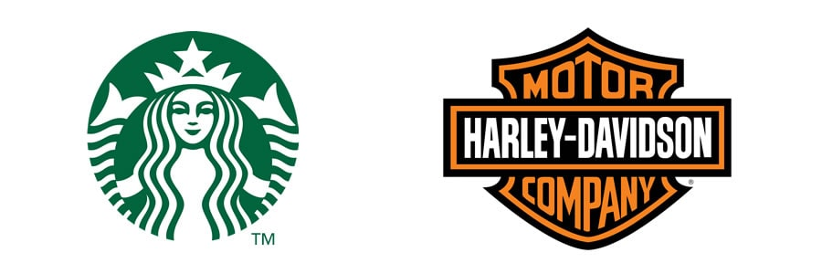 What are the different types of logos - Emblems - starbucks iconic mermaid emblem - Harley-Davidson crest Logo-min
