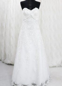 Chic A line wedding dress, satin body with lace trim - beads and embroidery - wedding dress shop croydon - wedding dress store london