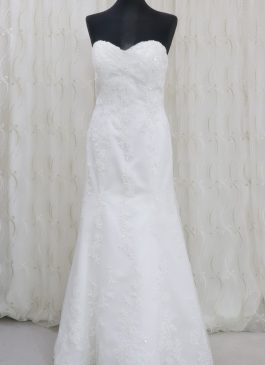 A-line satin wediding dress with mesh overlay with embroidery and button back Solano - wedding dress croydon - bridal shop south london