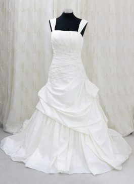 Beautiful white wedding dress with ruched side detail - pleated side with beads, stones and jewel - lace up back - south london wedding shop