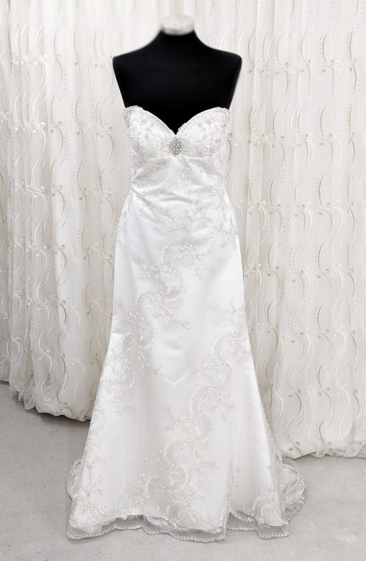 A-line satin wediding dress with mesh overlay with embroidery Solano - wedding dress croydon - bridal shop south london