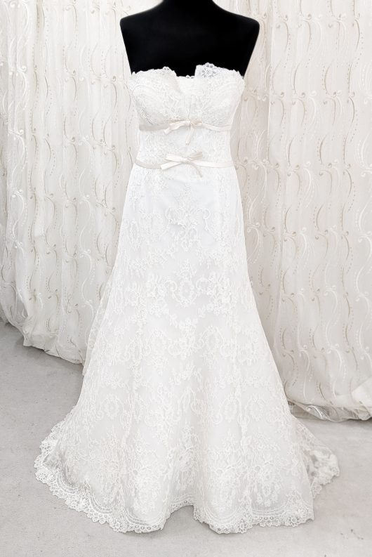 Satin double bow lace collumn dress - ivory wedding gown - lace bridal dress - croydon brides - ex display wedding dresses - designer sample wedding dress