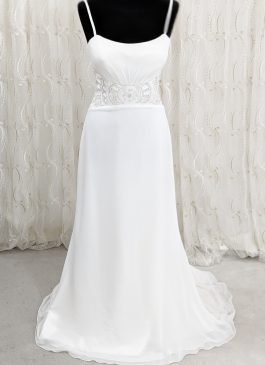 Spaghetti dress sexy wedding dress - beaded art deo waist dress - croydon bridal shop